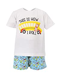 Unique Baby Boys This is How I Roll School Bus Back to School Outfit White