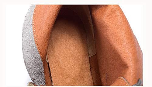 GWStiefel Vintage Damen Stiefel Stiefel Stiefel Kaffee Natürlichen Leder Handmade Original Frauen Stiefelies Retro Elegant Bequem Casual Seitliche Reißverschluss Wasserdicht Plattform Flachen Boden Spitze Vorne Damen S 2ac8af