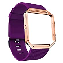 Fitbit Blaze Bands, MoreToys Silicone Replacement Accessories Wristband Watch strap with Metal Frame for Fitbit Blaze Smart Fitness Watch (Purple)
