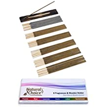 Natural Choice Incense Sticks - 6 Fragrances & Wooden Holder - Made from Scratch - No Dipping