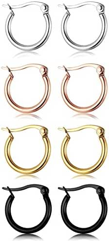 ORAZIO 4 Pairs Stainless Steel Hoop Earrings Set Cute Huggie Earrings for Women,4 Colors a Set