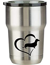 e56c3c78a96 Dachshund love Pink 12 oz stainless steel wine coffee water tumbler with  decal (Rose Gold