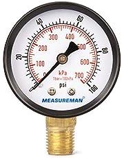 "Measureman Economic Dry Pressure Gauge Air Compressor Pressure Gauge, 2"" Dial Size, 1/4""NPT Center Back Mount, 0-200psi/kpa"