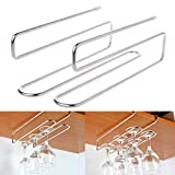 BetterM 2 Rows Stainless Steel Cup Holder Under Cabinet, Wine Glass Hanging Rack Under Cupboard Hanger