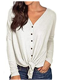 PCEAIIH Womens Long Sleeve Waffle Knit Tunic Blouse Tie Knot Henley Tops Loose Fitting Bat Wing Plain V Neck Shirts