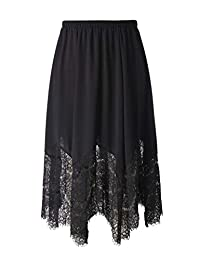 Chicwe Women's Plus Size Long Flare Lace Trimmed Skirt with Elastic Waistband 1X-4X