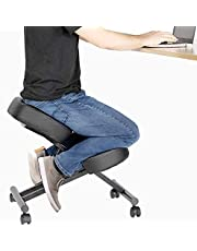 DRAGONN Ergonomic Kneeling Chair, Adjustable Stool for Home and Office - Improve Your Posture with an Angled Seat - Thick Comfortable Cushions (Black)