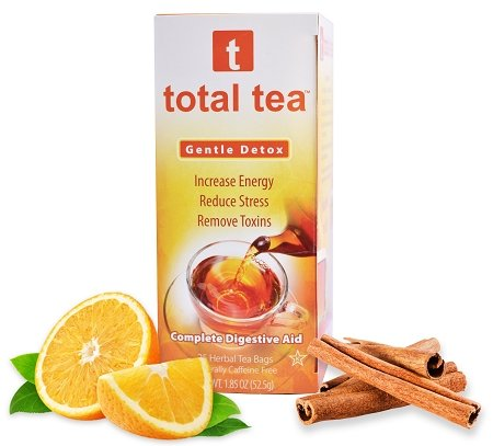 Total Tea Gentle Detox Tea: 25 Herbal Tea Bags | May Help Stop Constipation & Weight Loss | Colon Cleanse Support & Fast Toxin Relief | Natural Appetite Suppressant | Caffeine Free | Slimming Laxative