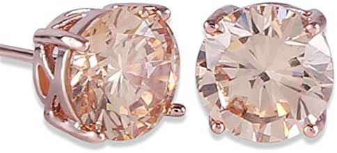GULICX Rose Gold Tone Yellow Crystal Royal Journey Jewelry Eternity Stud Earring
