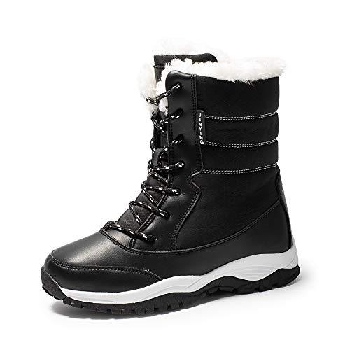 BYUYAN Stiefel Die Outdoor Schnee Stiefel Damen Winter in den Booster und Antischlupfregelung Plus Baumwolle Baumwolle Stiefel warme Schuhe aus Baumwolle, 37, Schwarz