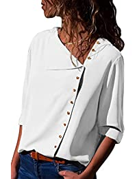 Women's Loose Fitting Blouses Plain Shirts 3/4 Sleeves...