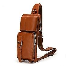 Meoaeo Single Shoulder Satchel men's breast bag leather small purse Orange