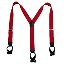 CTM Mens 1.5 Inch Elastic Button End Y-back Dress Suspenders (Tall Available), X-Long, Red