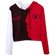 Hot!Aniywn Women Blouse Personality Long Sleeve Crop Face Patchwork Pullover Sweatshirt Hooded Tops