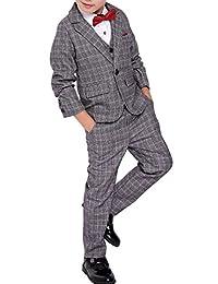 Fengchengjize Boys 3 Pcs Formal Suit Plaid Dress Suit Vest Pants Wedding Banquet
