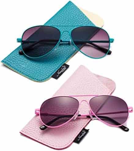 3cb71ca028 Newbee Fashion- Kids Girls Colored Aviator Sunglasses for Kids UV Protection  Spring Hinge w