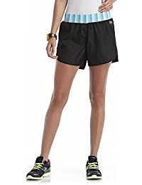 Women's Woven Athletic Shorts, X-Large, Black With Blue and White Striped Waist.