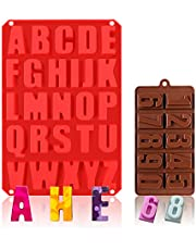 26 Cavities Alphabet Silicone Mold,DIY Crayon Letters Molds, Silicone Letter Baking Mold for Chocolate,Cake,Biscuit,Candy,Jello,Candles,Ice,Name Crayons,Resin Letters,Kitchen Cake Pans