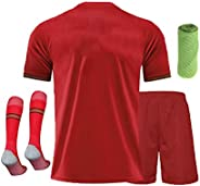20/21 Kids Youth Soccer Kit Football Personalised Short Sleeve Soccer Jersey, Shorts,Socks,Towel,4in1 Gift Tra