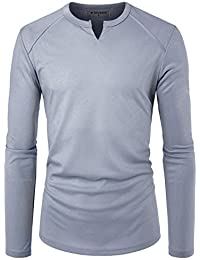 Mens Long Sleeve Slit Neck Casual Solid Coolmesh T Shirts