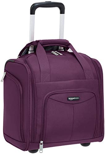 Amazon Basics Underseat Carry-On Rolling Travel Luggage Bag, 14 Inches, Purple