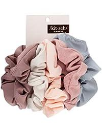 Matte Scrunchies for Hair, Hair Scrunchies for Women, Scrunchy Hair Bands, 5 Pack (Blush/Mauve)