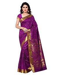 Janasya Women's Purple Kanchipuram Silk Saree
