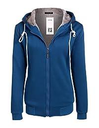 ACEVOG Women Hoody Zipper Long Sleeve Pullover Fleece Hooded Sweatshirt