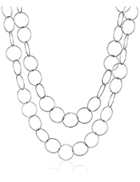 Sterling Silver Long Open Circle Link Necklace, 60""