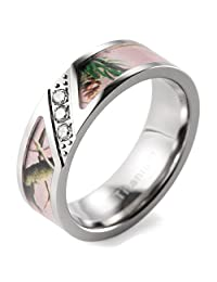 SHARDON Men's 7mm Pink Branches Camo Titanium Ring Diagonal Grooved Design with 3 CZ Stones Inlay