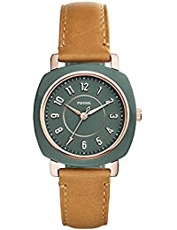 Women's 'Idealist Slim' Quartz Resin and Leather Casual Watch, Color:Brown (Model: ES4279)