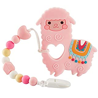 Baby Teething Toys, New Cartoon Shape Teether Pain Relief Toy with Pacifier Clip Holder Set for Newborn Babies, Shower Gift for Boys and Girls (Pink)