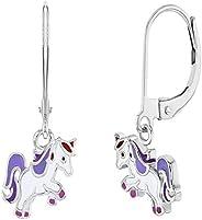 925 Sterling Silver Purple White Enamel Unicorn Lever Back Dangle Earrings Girls
