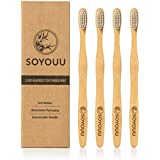 Natural Bamboo Toothbrush Pack of 4 - Eco Friendly Toothbrushes with Soft BPA Free Bristles, Biodegradable & Compostable Bamboo Handle, Zero Plastic 100% Recyclable Packaging, Manual toothbrush