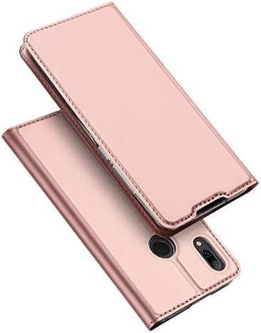 DUX DUCIS Cover Huawei P Smart 2019, Flip Caso Pelle PU con [Funzione Stand] [Slot Cart] [Chiusura Magnetica] Bumper Casein Custodia per Huawei P Smart 2019 (Oro Rosa)