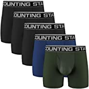 ASTEORRA Men's Boxer Briefs Spandex Athletic Mens Underwear Performance Boxer Briefs for Men Pack of 5 S M