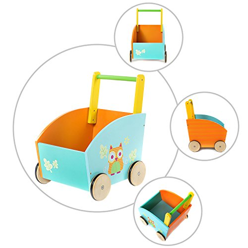 Sit to Stand Wooden Walker for Children 1 Year Old and Up Toddler Red Push Walking Cart with Wheels for Boys /& Girls Infant Multi-Activity Learning Walker labebe-Baby Push and Pull Toy