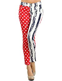 Yelete American Flag Stars Stripes Jegging Pant Leggings, Red White Blue