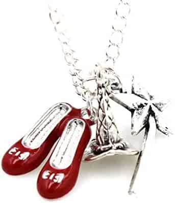 5e5ea504f Glazed Black Cherry Sweet Red Slippers Dorthy Charm - Wand Magic Fairy  Necklace Fashion Jewelry for