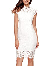 Womens Sleeveless Lace Floral Elegant Cocktail Dress Crew Neck Knee Length Party