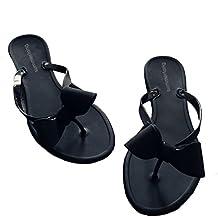 Shoe'N Tale Women Ribbon Bow Sandals Flip Flops Narrow Strap
