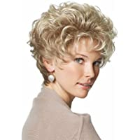 MEILEDA Short Wigs for Women with Bangs Fluffy Curly Golden Heat Resistant Synthetic Wigs + Wig Cap
