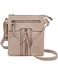 Fashion Women PU Leather Zip Front Cross Body Bag