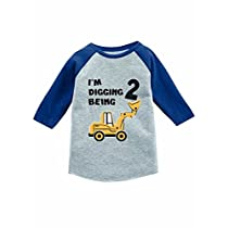 Tstars 2nd Birthday Gift Construction Party 3/4 Sleeve Baseball Jersey Toddler Shirt 4T Red