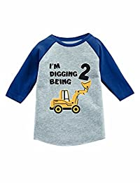 Tstars 2nd Birthday Gift Construction Party 3/4 Sleeve Baseball Jersey Toddler Shirt