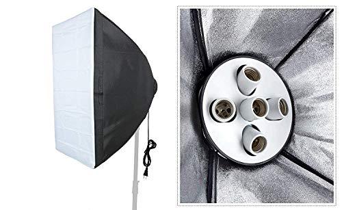 VIBLITZ® Set Photography Equipment Kit 50cmx70cm Softbox with 5 in 1 E27 Photo Studio Bulb Holder Base Socket Lamp Bulb Holder Adapter for Photo Video Studio Softbox Video Light – Black