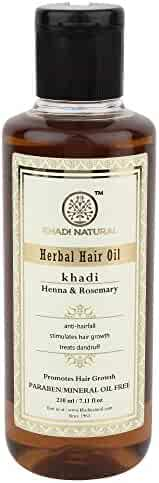 Khadi Natural Herbal Ayurvedic Rosemary and Henna Hair Oil (210 ml)