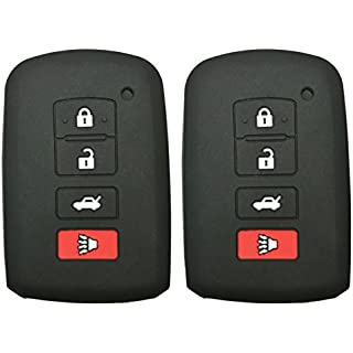 Sale 2Pcs Coolbestda Rubber Smart Key Fob Remote Cover Case Protector Keyless Jacket for 2016 2015 2014 Toyota Avalon Camry Corolla RAV4 Highlander Black