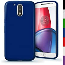 iGadgitz Solid Blue Glossy TPU Gel Skin Case Cover for Motorola Moto G 4th Generation XT1622 (Moto G4) & Moto G4 Plus XT1644 + Screen Protector