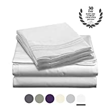 Bamboo Comfort Purity Collection - Bamboo Rayon Bedding - 4 Piece Bed Sheet Set - With Designer Colors and Embroidered Pillowcases (White, King)